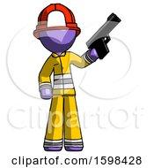 Purple Firefighter Fireman Man Holding Handgun