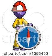 Purple Firefighter Fireman Man Standing Beside Large Compass