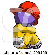 Purple Firefighter Fireman Man Sitting With Head Down Back View Facing Right