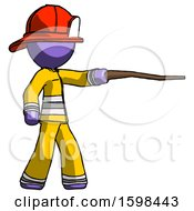 Purple Firefighter Fireman Man Pointing With Hiking Stick