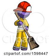 Purple Firefighter Fireman Man Sweeping Area With Broom