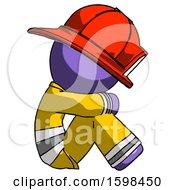Purple Firefighter Fireman Man Sitting With Head Down Facing Sideways Right