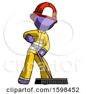 Purple Firefighter Fireman Man Cleaning Services Janitor Sweeping Floor With Push Broom