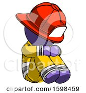 Purple Firefighter Fireman Man Sitting With Head Down Facing Angle Right