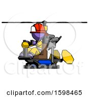 Purple Firefighter Fireman Man Flying In Gyrocopter Front Side Angle View