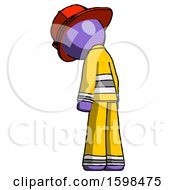 Purple Firefighter Fireman Man Depressed With Head Down Back To Viewer Left