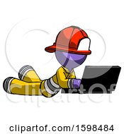 Purple Firefighter Fireman Man Using Laptop Computer While Lying On Floor Side Angled View