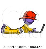 Purple Firefighter Fireman Man Using Laptop Computer While Lying On Floor Side View