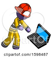 Purple Firefighter Fireman Man Throwing Laptop Computer In Frustration