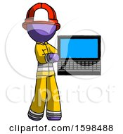 Purple Firefighter Fireman Man Holding Laptop Computer Presenting Something On Screen
