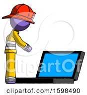 Purple Firefighter Fireman Man Using Large Laptop Computer Side Orthographic View