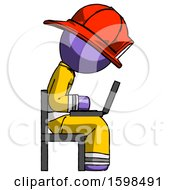 Purple Firefighter Fireman Man Using Laptop Computer While Sitting In Chair View From Side