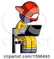 Purple Firefighter Fireman Man Using Laptop Computer While Sitting In Chair Angled Right