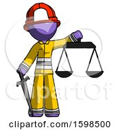 Purple Firefighter Fireman Man Justice Concept With Scales And Sword Justicia Derived
