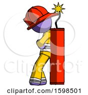 Purple Firefighter Fireman Man Leaning Against Dynimate Large Stick Ready To Blow