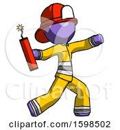 Purple Firefighter Fireman Man Throwing Dynamite