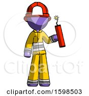 Purple Firefighter Fireman Man Holding Dynamite With Fuse Lit