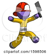 Purple Firefighter Fireman Man Psycho Running With Meat Cleaver