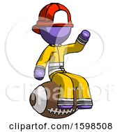 Purple Firefighter Fireman Man Sitting On Giant Football