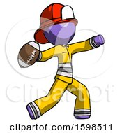 Purple Firefighter Fireman Man Throwing Football