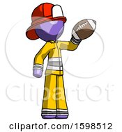 Purple Firefighter Fireman Man Holding Football Up
