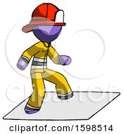 Purple Firefighter Fireman Man On Postage Envelope Surfing