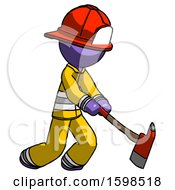 Purple Firefighter Fireman Man Striking With A Red Firefighters Ax