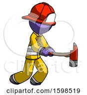 Purple Firefighter Fireman Man With Ax Hitting Striking Or Chopping