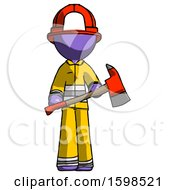 Purple Firefighter Fireman Man Holding Red Fire Fighters Ax