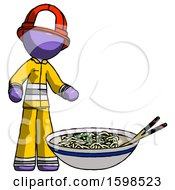 Purple Firefighter Fireman Man And Noodle Bowl Giant Soup Restaraunt Concept