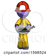 Purple Firefighter Fireman Man Serving Or Presenting Noodles