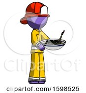 Purple Firefighter Fireman Man Holding Noodles Offering To Viewer