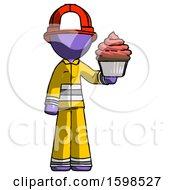 Purple Firefighter Fireman Man Presenting Pink Cupcake To Viewer