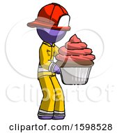 Purple Firefighter Fireman Man Holding Large Cupcake Ready To Eat Or Serve