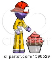 Purple Firefighter Fireman Man With Giant Cupcake Dessert