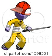 Purple Firefighter Fireman Man Stabbing With Ninja Sword Katana