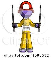 Purple Firefighter Fireman Man Posing With Two Ninja Sword Katanas Up