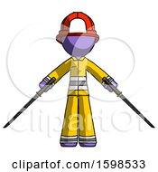 Purple Firefighter Fireman Man Posing With Two Ninja Sword Katanas