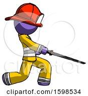 Purple Firefighter Fireman Man With Ninja Sword Katana Slicing Or Striking Something