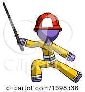 Purple Firefighter Fireman Man With Ninja Sword Katana In Defense Pose