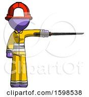 Purple Firefighter Fireman Man Standing With Ninja Sword Katana Pointing Right