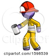 Purple Firefighter Fireman Man Begger Holding Can Begging Or Asking For Charity Facing Left