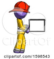 Purple Firefighter Fireman Man Show Tablet Device Computer To Viewer Blank Area
