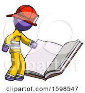 Poster, Art Print Of Purple Firefighter Fireman Man Reading Big Book While Standing Beside It