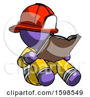 Poster, Art Print Of Purple Firefighter Fireman Man Reading Book While Sitting Down