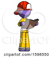 Poster, Art Print Of Purple Firefighter Fireman Man Reading Book While Standing Up Facing Away