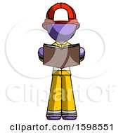 Poster, Art Print Of Purple Firefighter Fireman Man Reading Book While Standing Up Facing Viewer