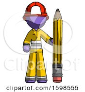 Purple Firefighter Fireman Man With Large Pencil Standing Ready To Write