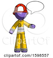 Purple Firefighter Fireman Man With Word Bubble Talking Chat Icon
