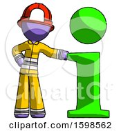 Purple Firefighter Fireman Man With Info Symbol Leaning Up Against It